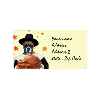 Thanksgiving Boxer dog Address Label
