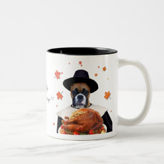 Thanksgiving Boxer dog mug