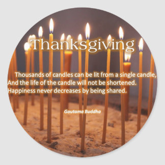 Thanksgiving Candles Classic Round Sticker