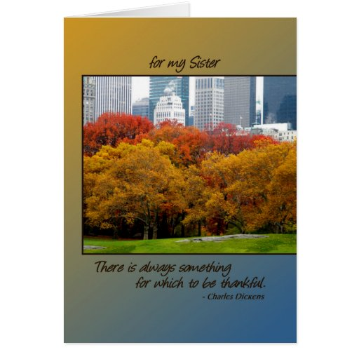 Thanksgiving card Fall in Central Park for Sister