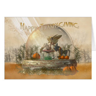 Thanksgiving Card With Fairy In A Globe Fall Colou