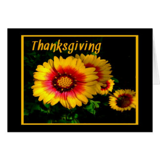 Thanksgiving Card with Golden Cheerful Flowers