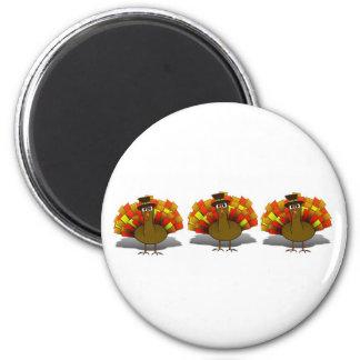 Thanksgiving Cartoon Turkey Pilgrim 6 Cm Round Magnet