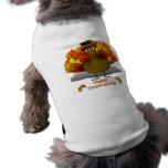 Thanksgiving Cartoon Turkey Pilgrim Dog T Shirt