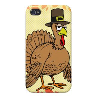 Thanksgiving Cartoon Turkey Pilgrim Cover For iPhone 4