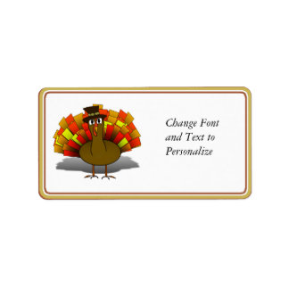 Thanksgiving Cartoon Turkey Pilgrim Label