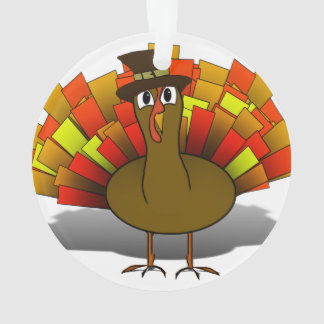 Thanksgiving Cartoon Turkey Pilgrim Ornament