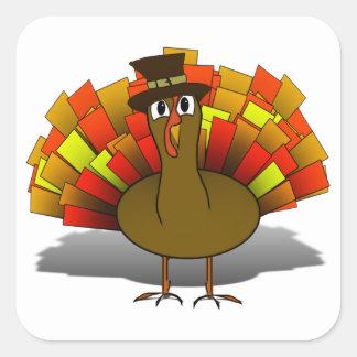Thanksgiving Cartoon Turkey Pilgrim Square Sticker