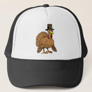 Thanksgiving Cartoon Turkey Pilgrim Trucker Hat