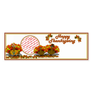 Thanksgiving Cartoon Turkey Trio Photo Frame Pack Of Skinny Business Cards