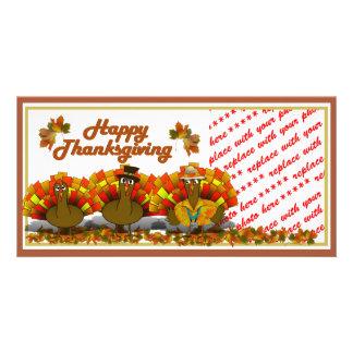 Thanksgiving Cartoon Turkey Trio Photo Frame Photo Greeting Card