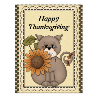 Thanksgiving Cat greeting postcard
