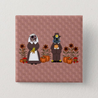 Thanksgiving Cats 15 Cm Square Badge