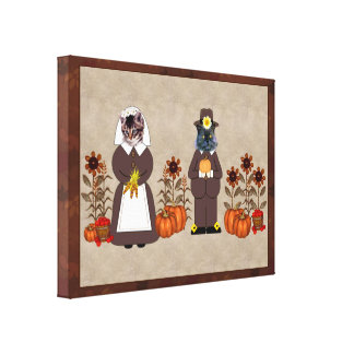 Thanksgiving Cats Gallery Wrapped Canvas