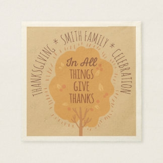 Thanksgiving Celebration In All Things Give Thanks Disposable Napkin