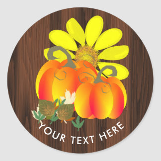 Thanksgiving Celebration Rustic Personalized Classic Round Sticker