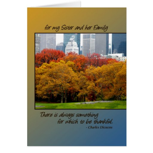 Thanksgiving Central Park for Sister & her Family Greeting Card