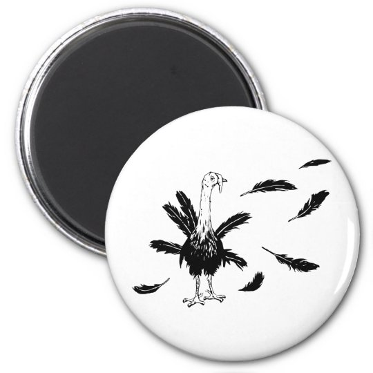 Thanksgiving & Christmas Turkey With Feathers 6 Cm Round Magnet
