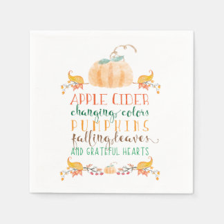 Thanksgiving Cocktail Paper Napkins