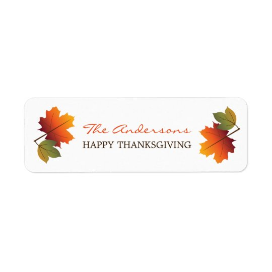 Thanksgiving Colourful Fall Leaves Gift Labels