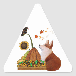 Thanksgiving Corgi Triangle Sticker