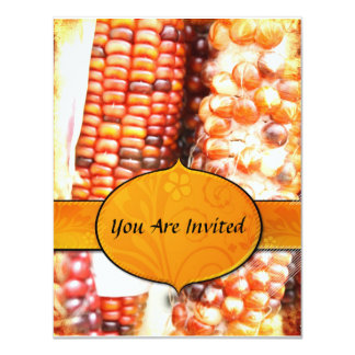"Thanksgiving Corn  Invitation 4.25"" X 5.5"" Invitation Card"