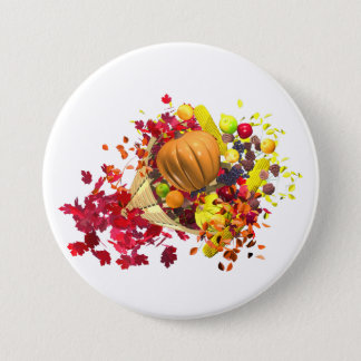 Thanksgiving Cornucopia 7.5 Cm Round Badge