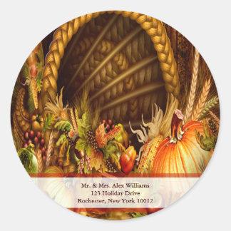 Thanksgiving Cornucopia Address Labels Round Sticker