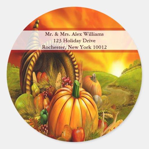 Thanksgiving Cornucopia Address labels Sticker