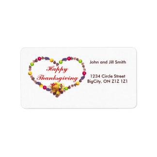 "Thanksgiving Cornucopia Heart 1-1/4"" Address Label"