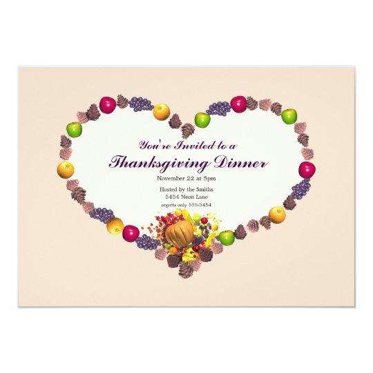 Thanksgiving Cornucopia Heart Dinner Card