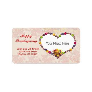 Thanksgiving Cornucopia Heart (photo frame) Address Label