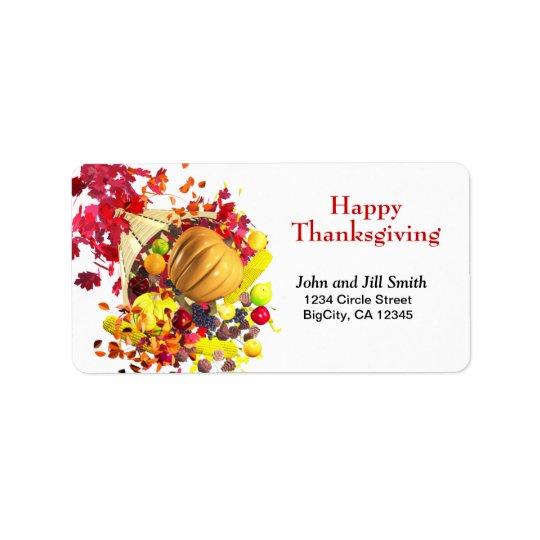 Thanksgiving Cornucopia Label