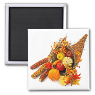 Thanksgiving Cornucopia Square Magnet