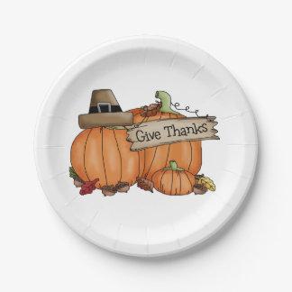Thanksgiving Custom Paper Plates/Pumpkins 7 Inch Paper Plate