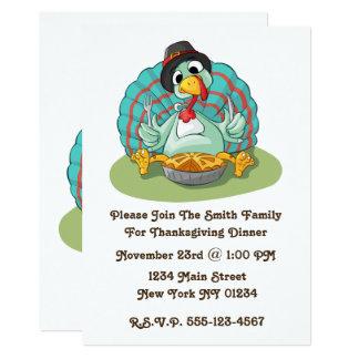 Thanksgiving Cute Turkey Pie Card