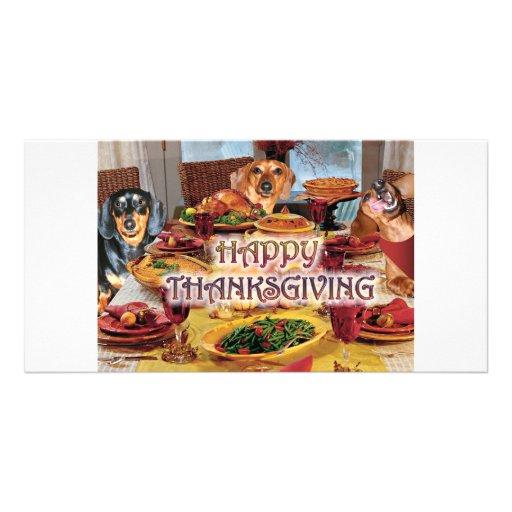 Thanksgiving Dachshunds Photo Card