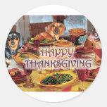 Thanksgiving Dachshunds Round Sticker