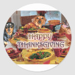 Thanksgiving Dachshunds Round Stickers
