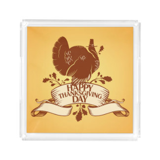 Thanksgiving Day Design With Turkey And Ribbon Acrylic Tray