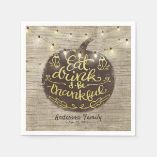 Thanksgiving Day Dinner Party Pumpkin String Light Disposable Napkins