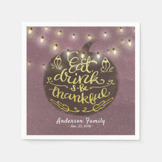 Thanksgiving Day Dinner Party Pumpkin String Light Paper Napkins