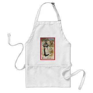 Thanksgiving Day Greetings with a Pilgrim Woman Standard Apron