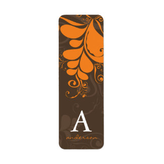 Thanksgiving Deco Leaves Swirls Party Labels