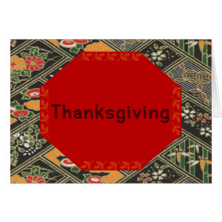Thanksgiving Design in Red, Gold, Black & Flowers Card