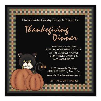 Thanksgiving Dinner Autumn Black Cat  Pumpkins 13 Cm X 13 Cm Square Invitation Card
