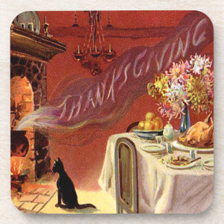 Thanksgiving Dinner Black Cat Fireplace Turkey Coaster