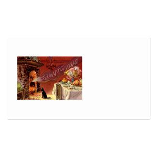 Thanksgiving Dinner Black Cat Fireplace Turkey Pack Of Standard Business Cards