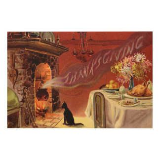 Thanksgiving Dinner Black Cat Fireplace Turkey Wood Canvas