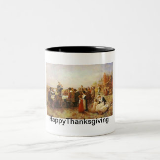 Thanksgiving Dinner in Early American History Two-Tone Mug